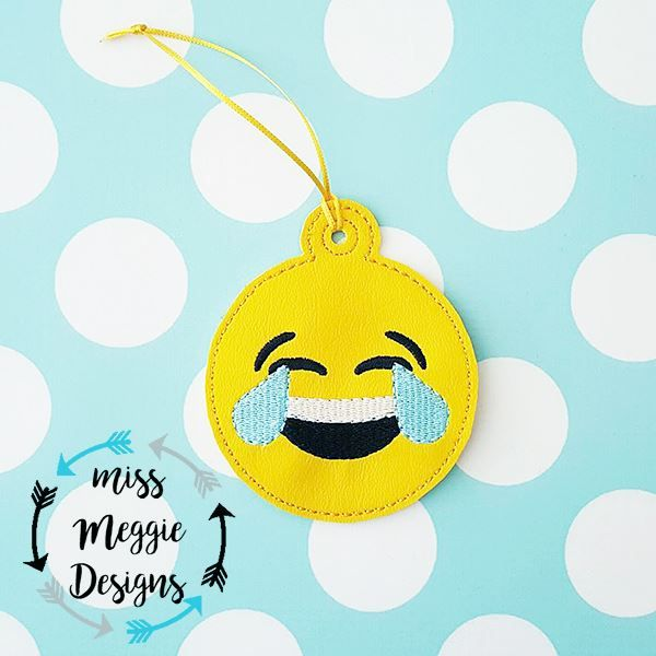 Laughing Smiley face Ornament ITH Embroidery design file