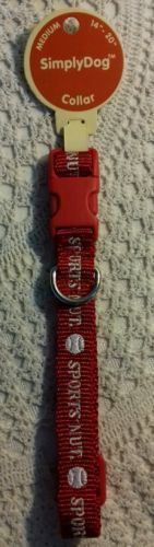 Dog Collar Size M red sports nut in white with baseballs jm906