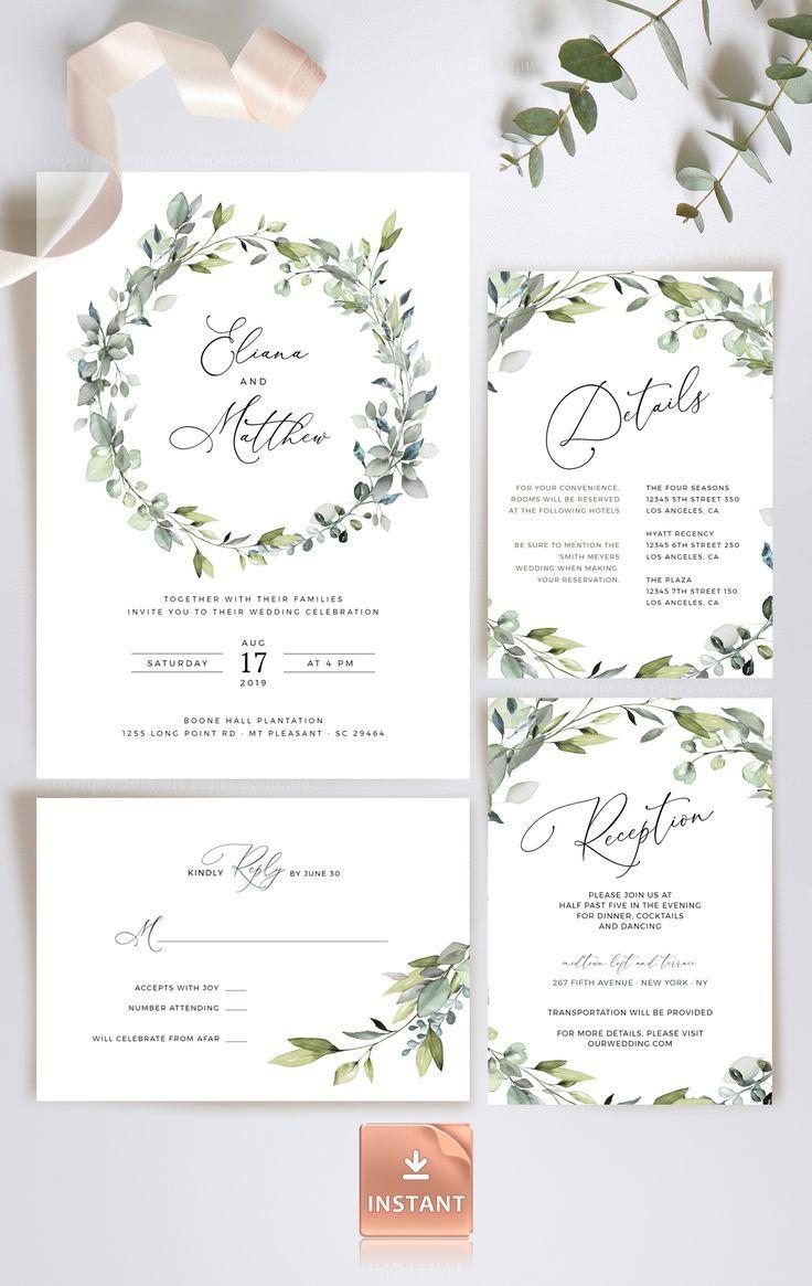 BOHO Wedding Invitation Template Set With Eucalyptus Greenery Leaves