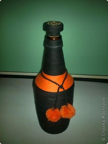 Декор предметов Плетение Декор бутылок Нитки фото 1
