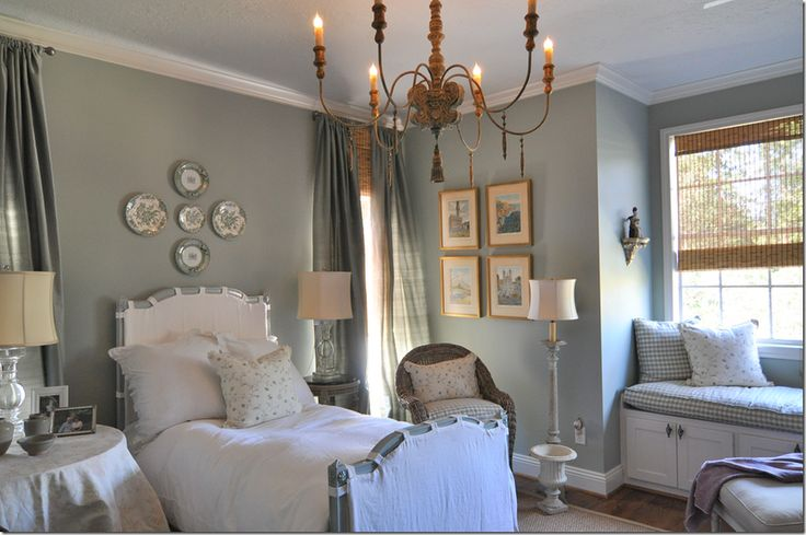 Cote de Texas 's guest bedroom - love it all, the chandelier is AG, need to know that wall color