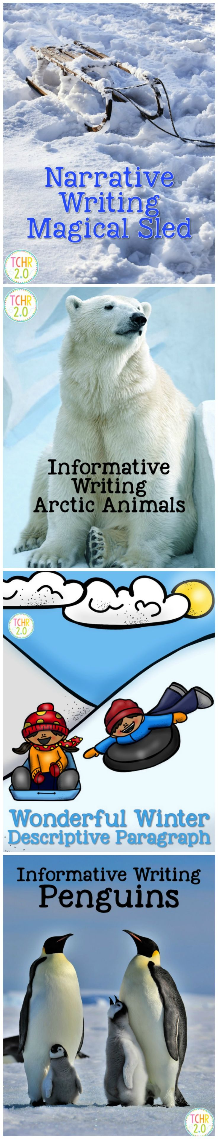 This bundle contains 6 different writing units that can be used during the winter season.  Informative Writing: Arctic Animals Informative Writing: Penguins Narrative Writing: Magical Sled Descriptive Writing: Wonderful Winter Opinion Writing: Snow Day vs. Late Opening Opinion Writing: Winter