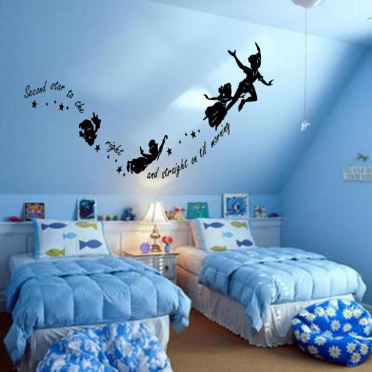 PETER PAN Never Never Land Flying Childrens Nursery Vinyl Decor Wall Mural  Decal Silhouette Part 51