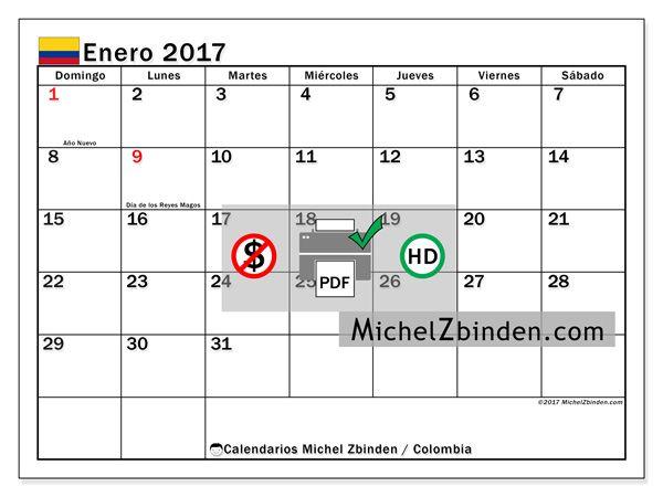 """Calendario enero 2017 """"Días festivos Colombia Tiberius"""" de Michel Zbinden (Colombia)"""