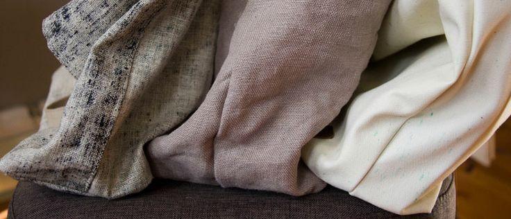 Dwie lniane torby+bawełna nakrapiana w miętowe plamki.