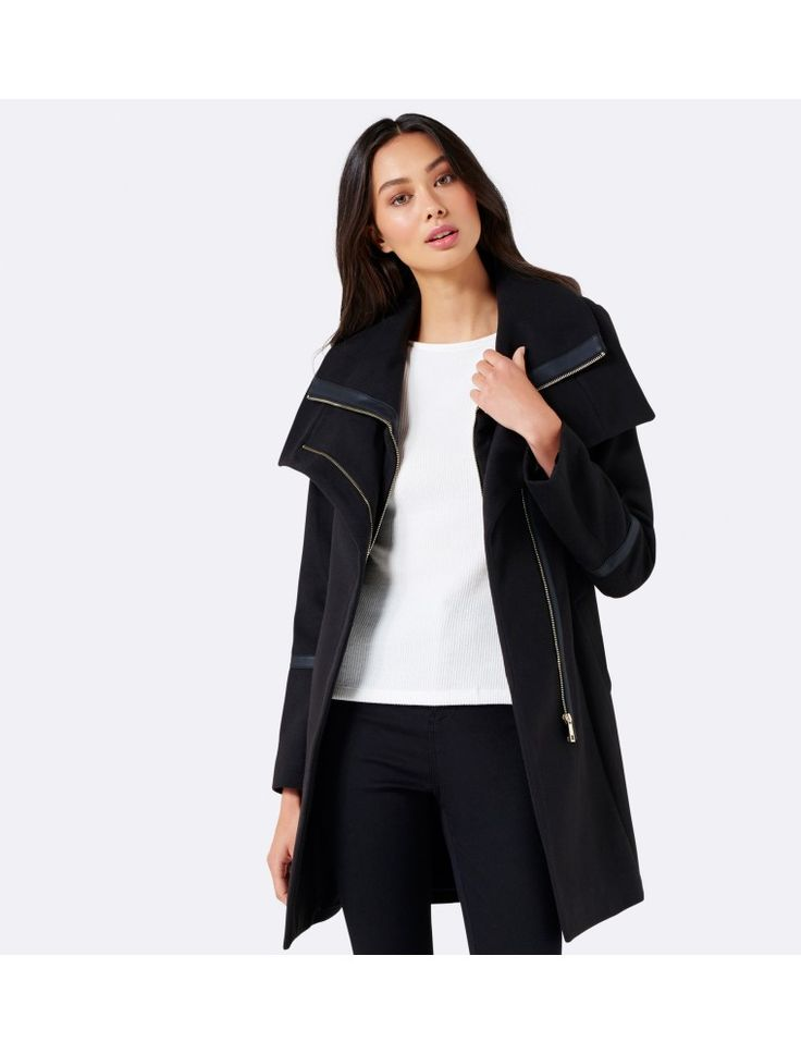 Penelope wrap coat Black - Womens Fashion | Forever New