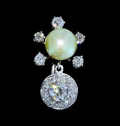 Art Deco 14k Akoya Pearl & European Diamond Earrings from divinefind on Ruby Lane