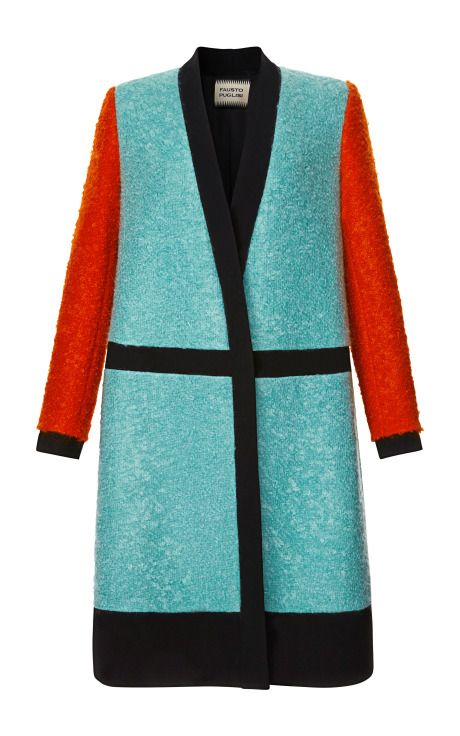 Color-Blocked Boucle Coat by Fausto Puglisi for Preorder on Moda Operandi