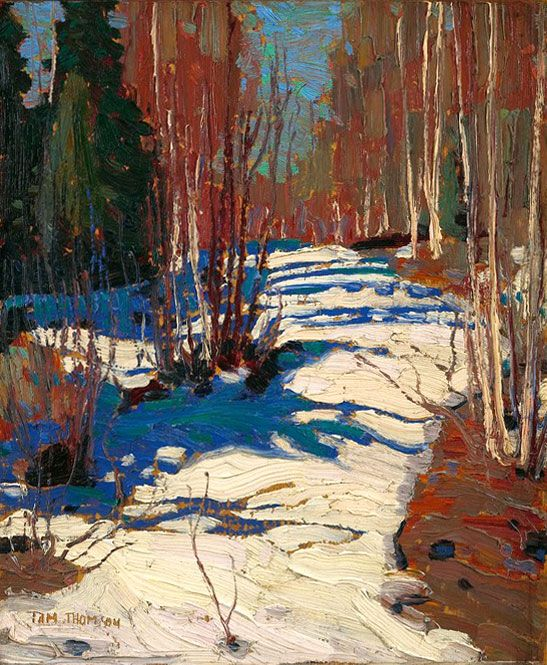 Path Behind Mowat Lodge -- oil on panel 1917 Tom Thomson