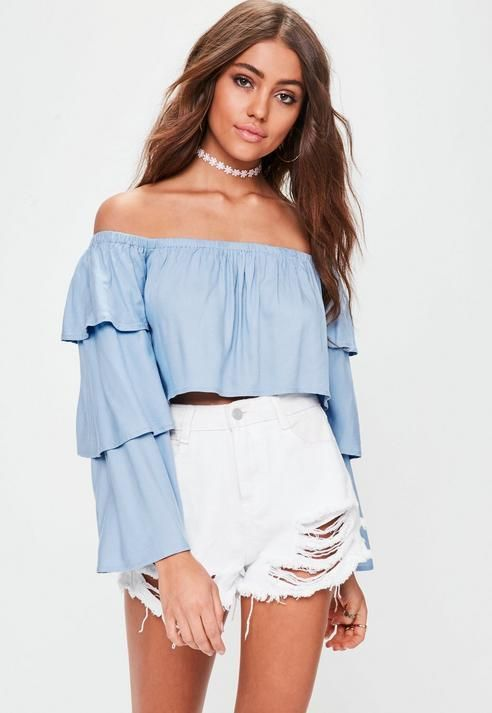 Missguided Blue Layered Frill Sleeve Bardot Top