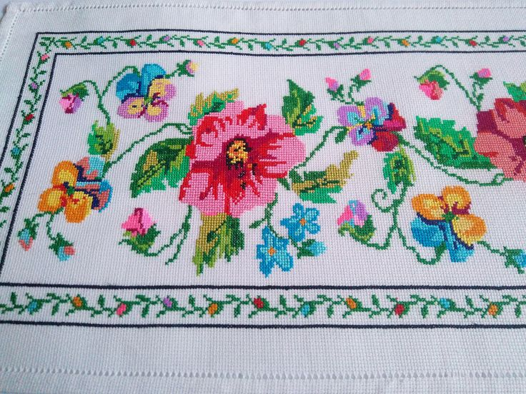 Embroidered Kitchen Table Runner. Decoration Cover. Flowers Rectangle Tablecloth. Country Cottage Style. Farmhouse Dining. Hemstitch. Dinner It can be used as decoration for the living room, a napkin on the table, chest of drawers, the kitchen. Perfect for wedding or anniversary