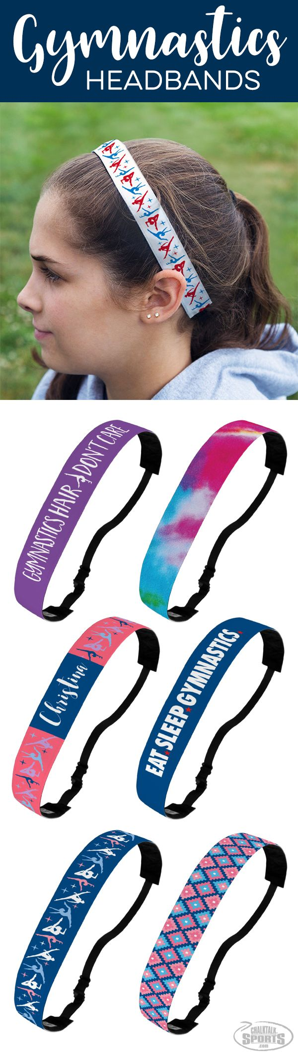 Gymnasts will love our no slip headbands...perfect for keeping hair in place and a stylish way for showing off  their love for their sport!