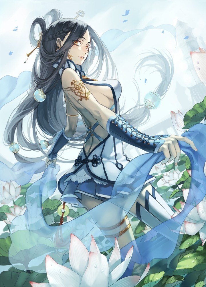 1girl bare shoulders black hair flower hair stick lily pad long hair looking back newrein oppai original petals shawl skirt solo thighhighs very long hair yellow eyes