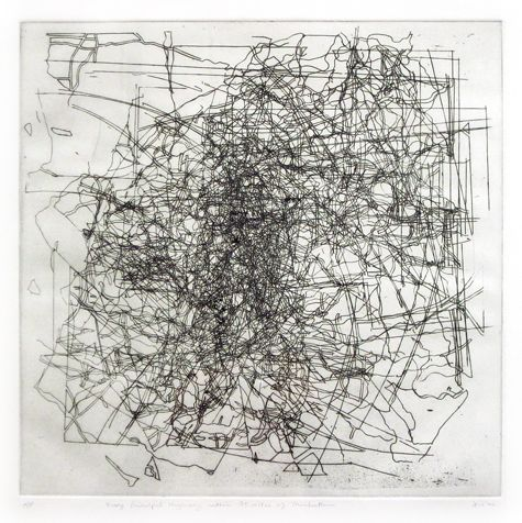 """""""Every Principle Highway Within 75 Miles of Manhattan,"""" 2000 Etching, 22 x 23 inches"""