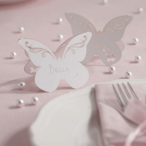 Flutterby Butterfly free Standing Place Cards. Possibly use other shapes?