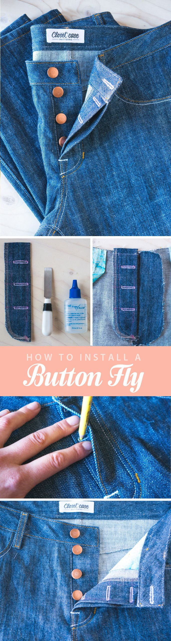 Step by step instructions for installing a button fly in jeans! // Closet Case Files http://closetcasefiles.com/install-button-fly/