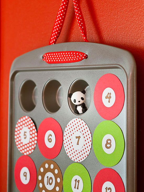 Muffin Pan Calendar - Fun to make and use, this advent calendar transforms your mini muffin pan into a treasured holiday countdown. Use a pan with 24 wells. They should be about 2 inches wide. Cut twenty-four 2-1/4-inch circles from a 12x24-inch adhesive magnet sheet. Adhere them to patterned paper; cut out. Use a 1-inch circular punch for the inner circles. Number and glue them to the magnetic circles. Fill the wells with fun trinkets, notes, and candies.