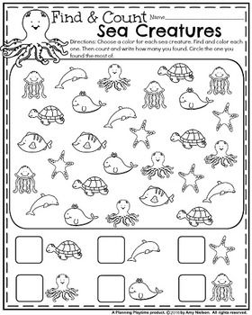 Cute Summer Kindergarten Worksheet - Find and Count the ocean creatures.