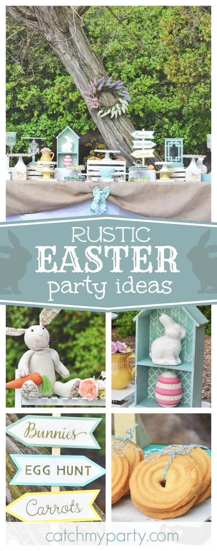 Don't miss this beautiful rustic Easter Bunny Party! The decorations are gorgeous!! See more party ideas and share yours at CatchMyParty.com