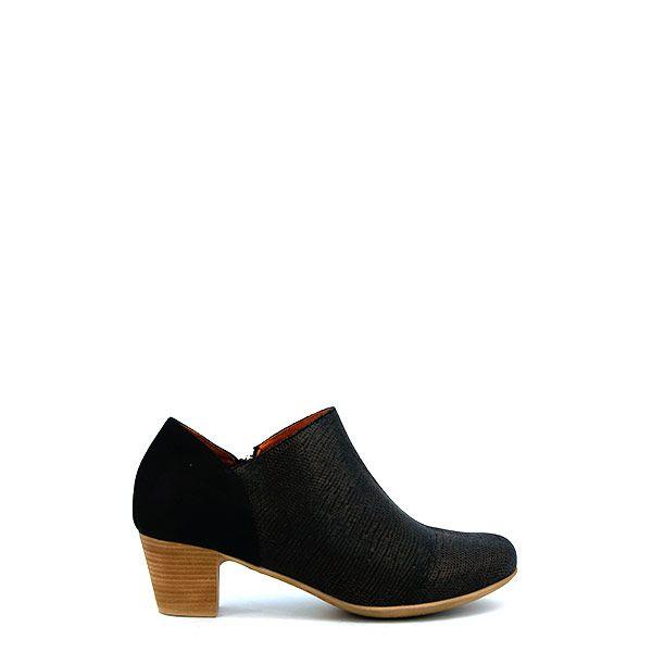 Footnotes-48.248-1000-dames-enkellaars-leer-leer-rubber-uitneembaar-voetbed-5cm-H-zwart-metallic