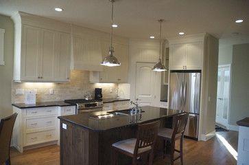 traditional - kitchen - calgary - Veranda Estate Homes & Interiors 2x3 tumbled travertine backsplash