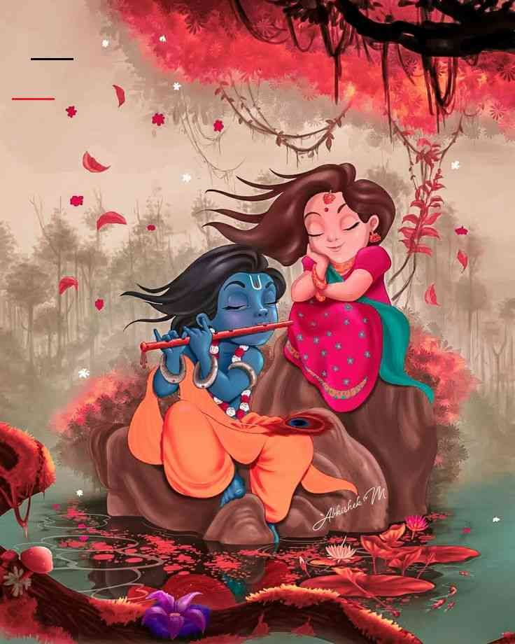 Radha Krishna Cute Art Mobile Wallpaper Download Radha Krishna Wallpaper From The Above Display Resolutions For Your Andr In 2020 Indiase Kunst Wallpaper Foto Ideeen