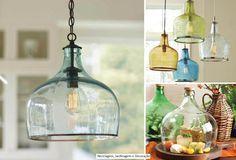 garrafas de vidros como luminarias