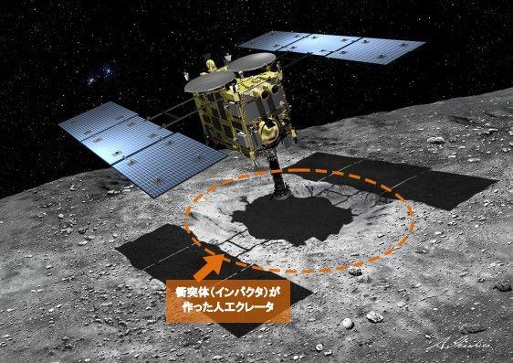 小惑星でサンプル採取を行う「はやぶさ2」の想像図  (提供:池下章裕氏)