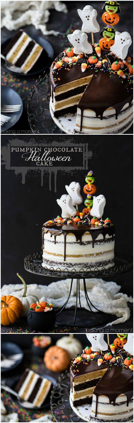 Pumpkin Chocolate Halloween Cake: the layers were moist and delicious and the frosting is like nothing else I've ever had! Really easy to decorate too, it's just candy but wow what a statement!