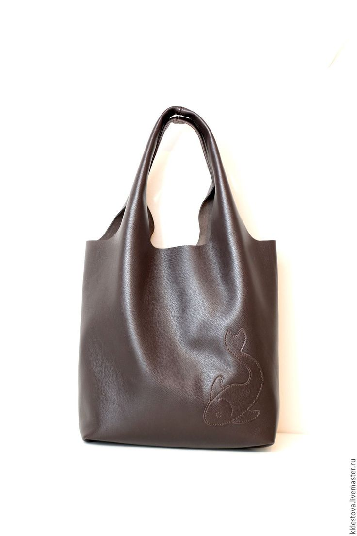 Купить Сумка-мешок из кожи КРС - Сумка-майка - Тоут - Шоппер - Пакет - коричневый