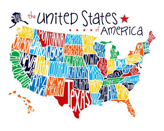 United States of America Map - Fun US Map for Playroom, Classroom or Bedroom