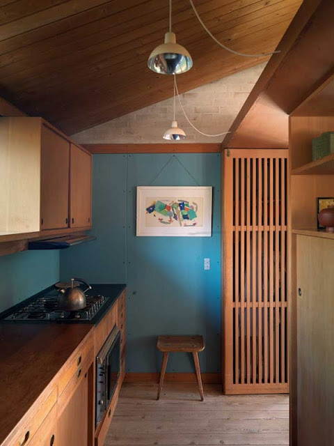 This kitchen was built more than 50 years ago in Denmark, in the home of Danish designer Børge Mogensen.  Looks just as fresh and modern today.  This blog entry has lovely pictures of the house.