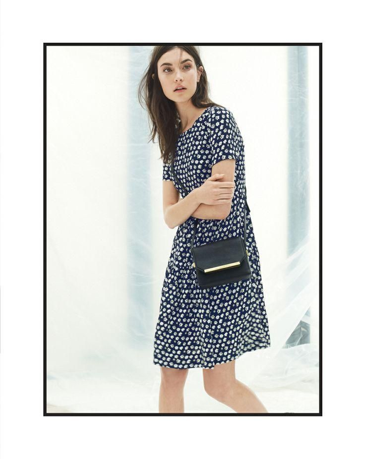 J.Crew tiered dress in blurred floral worn with the Claremont mini purse bag [more at pinterest.com/eventsbygab]