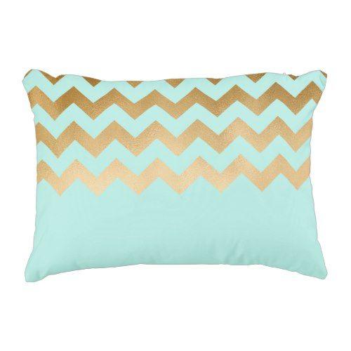 elegant gold foil chevron pattern mint background accent pillow