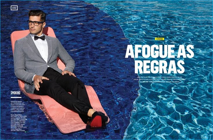 Leandro Lima takes to the pool in a sharp smoking jacket from German label Hugo Boss.