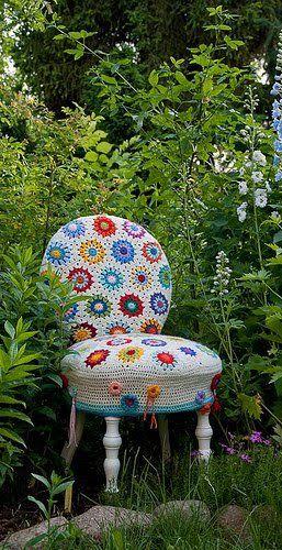 Un angolo in giardino! Sedia #crochet #homedecor