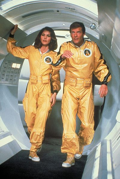 Fifty years of Bond style: Bond (Roger Moore) and Dr Holly Goodhead (Lois Chiles) in Moonraker