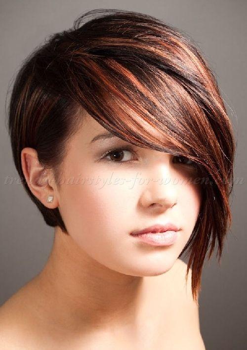 short haircuts with long bangs - asymmetrical bob hairstyle
