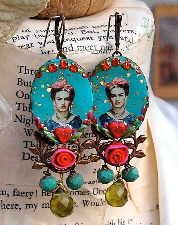 Lilygrace Frida Kahlo Cameo Earrings in Duckegg, Scarlet, Pink and Green with Hearts and Vintage Rhinestones