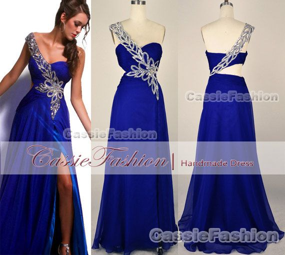 One Shoulder Sweetheart Beading Chiffon Floor by CassieFashion, $139.00