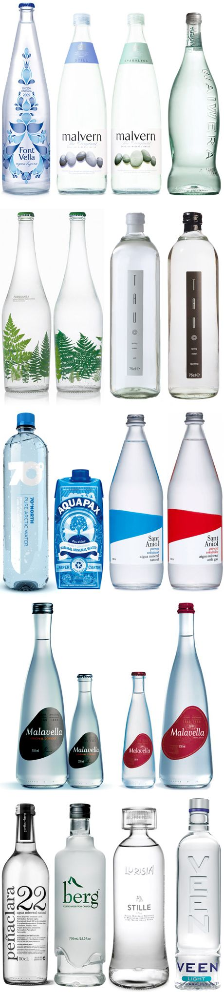 "Lovely bottled water designs. My local gas station actually had ""Bottled Waters of the World"" for awhile, and I got to try a few. I'm familiar with quite a few of these, thanks to the Fine Waters website."
