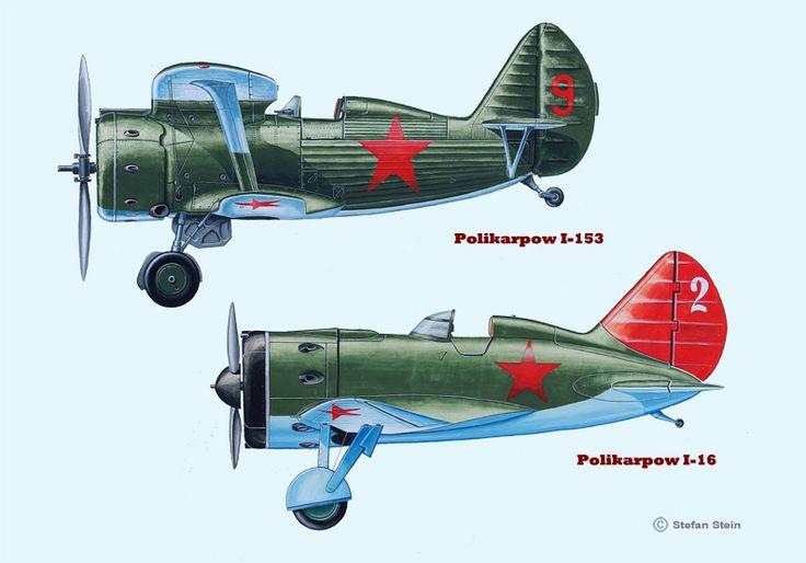 Polikarpow I-153 und I-16 (Tempera) www.flugzeugkunst.eu