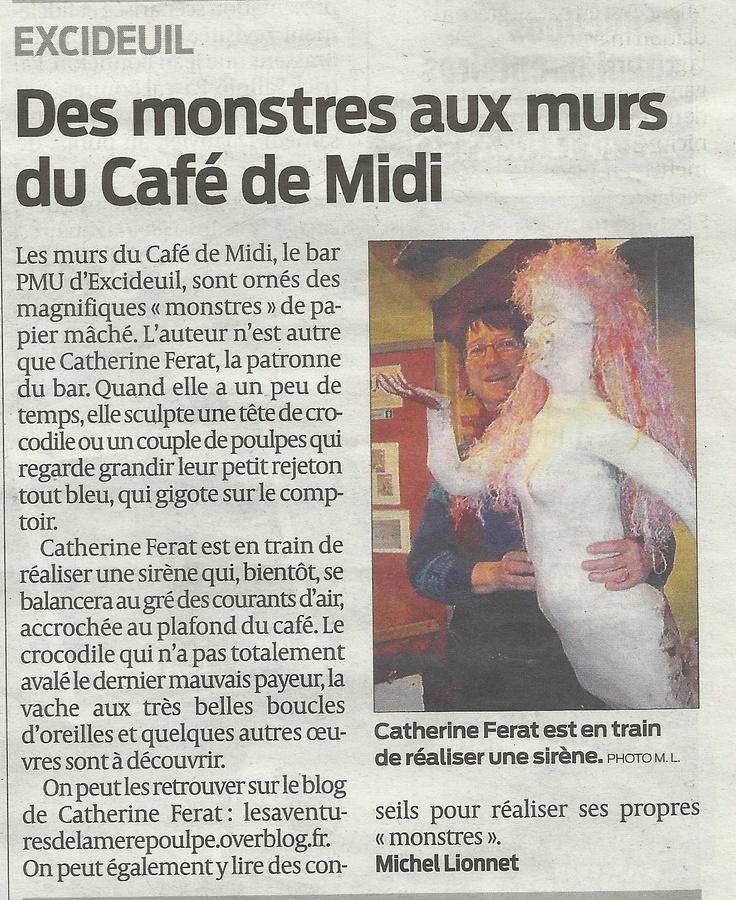 Article journal Sud-Ouest du 8 janvier 2013 papier mâché sirène (blog les aventures de la mère poulpe)