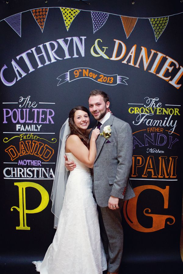 Chalkboard sign with couple's and family names as backdrop for photo booth | lydia stamps photography