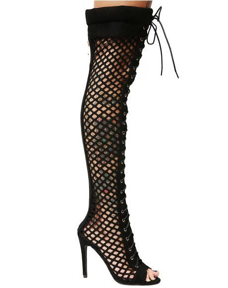 33346ed6c59 Killin' The Game Fishnet Thigh High Boots | Shoes | Shoes, Thigh ...