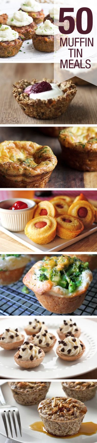 Check out these 50 meals you can make in a muffin tin! So many great ideas-was looking for kids stuff-but look at the party nibbles you can do!!!