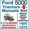 Ford 5000 4 Cylinder Tractor SERVICE, PARTS, OWNERS -6- Manuals 1965-75 - DOWNLOAD - Ford 5000 Series 4 Cylinder Tractors Service Manual, Shop Manual, Parts Catalog