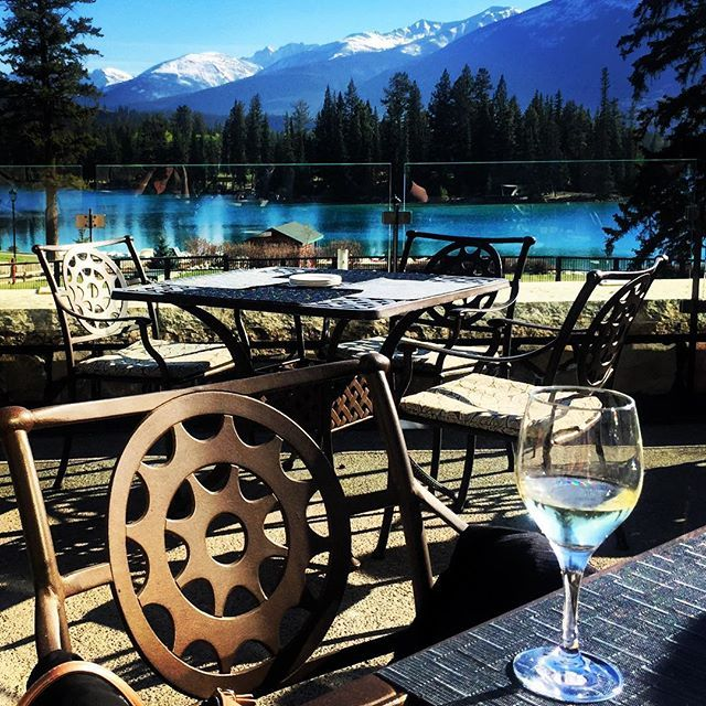 The Emerald Patio overlooks Lac Beauvert and the Canadian Rockies. The perfect spot for a glass of wine!  Jasper | Jasper National Park | Best Patios in Jasper  http://www.fairmont.com/jasper/dining/theemeraldloungeandpatio/