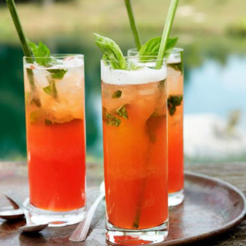 It's all of your summer favorites in one glass: basil, fresh strawberries, tart lemonade and, most importantly, a shot of bourbon.  Get the recipe at Country Living »