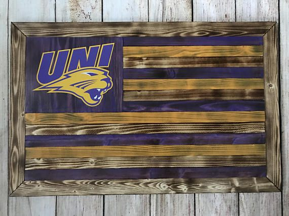 UNI University of Northern Iowa Panthers wooden flag